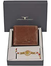 Urban Forest Rakhi Gift Combo for Brother - Classic Redwood Leather Men's Wallet and Rakhi Combo Gift Set for Brother