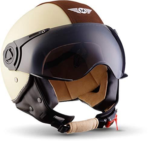 "Moto Helmets® H44 \""Vintage Creme\"" · Jet-Helm · Motorrad-Helm Roller-Helm Scooter-Helm Bobber Mofa-Helm Chopper Retro Cruiser Vintage Pilot Biker · ECE Visier Schnellverschluss Tasche S (55-56cm)"