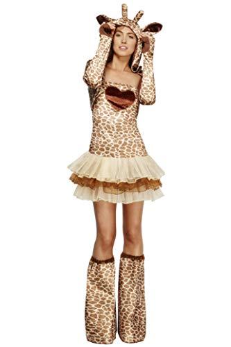 Fever Damen Giraffen Kostüm, Tutu-Kleid mit abnehmbaren Trägern, Jacke mit Tierkapuze und Überstiefel, Größe: S, - Giraffe Tutu Kostüm
