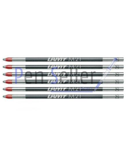 Lamy: Mini-Kugelschreibermine M21: Farbe: rot, Strichbreite: M, 6er-Set. Für Multipen Lamy, Parker, Rotring.