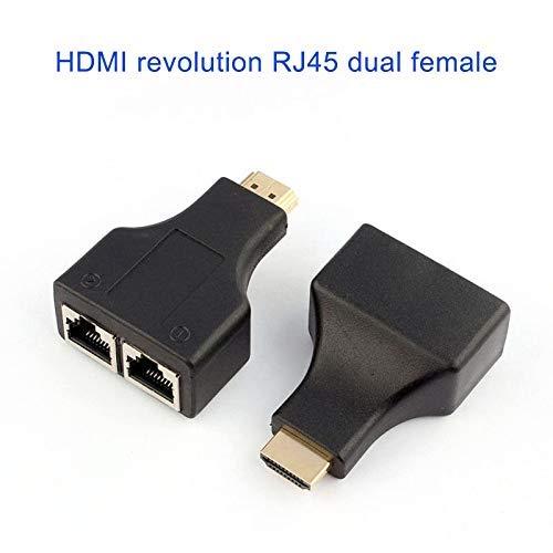 Remaxm 1 Pair HDMI zu Dual Port RJ45 Networks Adapter Stecker-Auf-Buchse Kabel Extender -