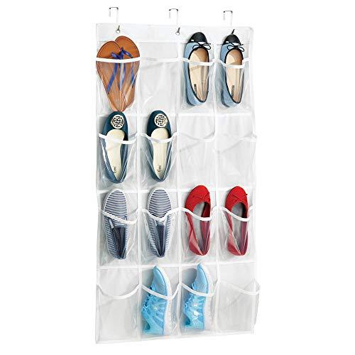 mDesign Hängeschuhschrank mit 16 Taschen - hängendes Schuhregal für die Tür - Schuhaufbewahrung ohne Bohren - weiß/durchsichtig