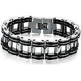 Titanium Steel Individual Cool Chic Black and White Men Bracelet
