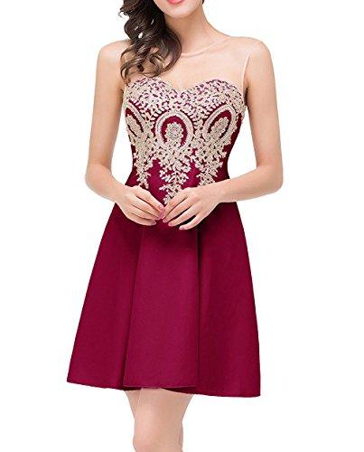 CoutureBridal® Damen Kleid Kurze Abendkleid Tulle Applique Brautjungferkleid ParteiKleid Weinrot