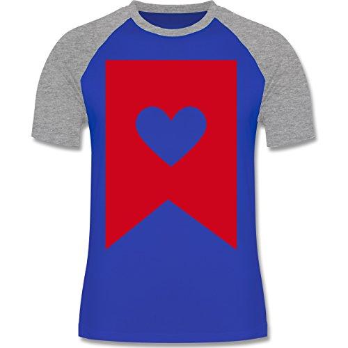 Symbole - Herz - zweifarbiges Baseballshirt für Männer Royalblau/Grau meliert