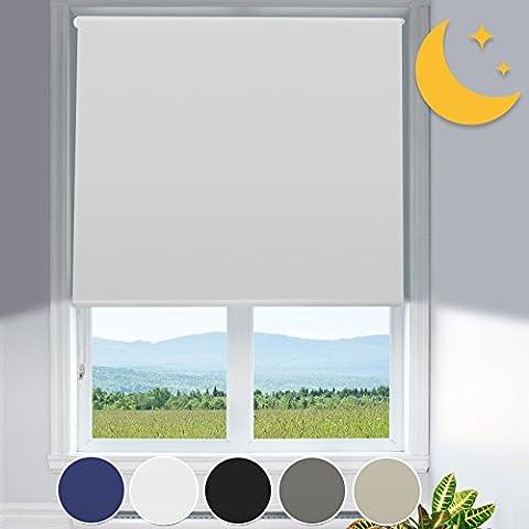 Verdunkelungsrollo mit Hitzeschutz   lichtundurchlässig   Klemmfix ohne Bohren   Fensterrollo in Weiß   Rollo für Fenster in vielen Größen ( 80 cm breit und 150 cm lang