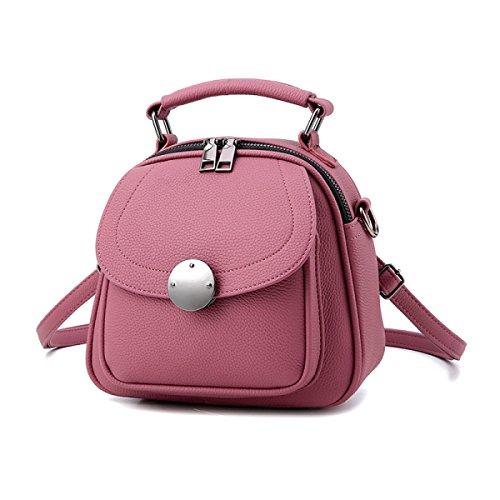 WU Zhi Dame PU Eimer Tasche Schulter Messenger Bag Pink