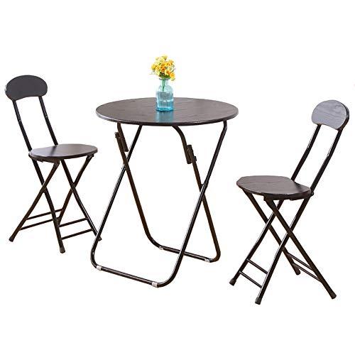 YXX Table De Salle À Manger en Bois avec Pliage Ronde Et Set De 3 Tables De Jardin Et De Thé Et Ordinateur De Jardin Noir, (1 Table + 2 Chaises) (Taille : 70x70x71cm)