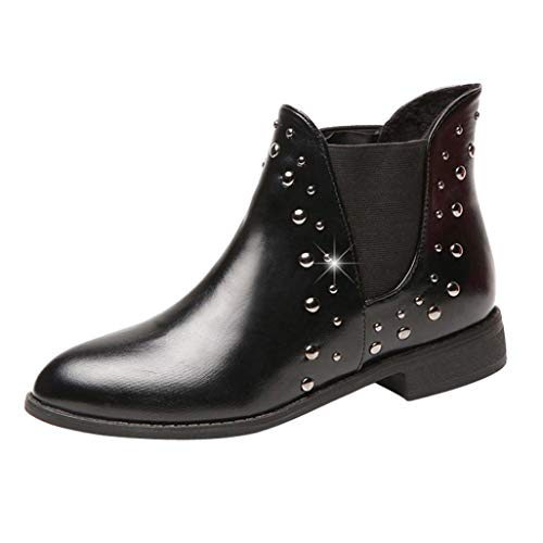 f5f7b093c56 DAYSEVENTH Ladies Casual Rivets Shoes Keep Warm Boot Patent Leather Flat  Slip On Ankle Boots Martin