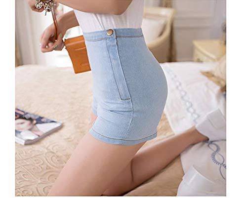 LKJH Shorts für FrauenDamen High Waist Jeans Denim Short Tight A Seitlicher Knopf, M -