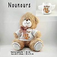 Peluche Nounours avec un Tee shirt Écureuil Personnalisable avec un Prénom Exemple Arthur