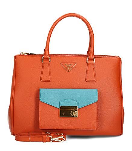 Prada Saffiano Lux - BN2674 - Damen Tasche - Orange - Saffiano Leder -BxHxT (35x25x15cm) - Prada Handtasche