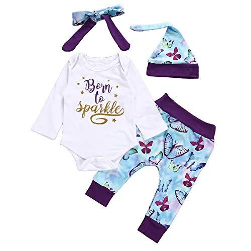 Chennie 4 stück Baby mädchen Herbst Outfit Brief Strampler Butterfly Hosen floral Hut Bogen Stirnband (Color : Purple, Size : 12-18M) Butterfly Beanie Baby