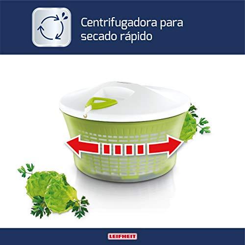 Leifheit Centrifugadora de lechuga ComfortLine, centrifugadora manual con mecanismo de giro en la ta