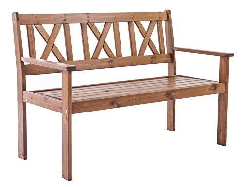 Java Exclusiv Ambientehome EVJE - Banco de 2 plazas para jardín, madera maciza, color marrón