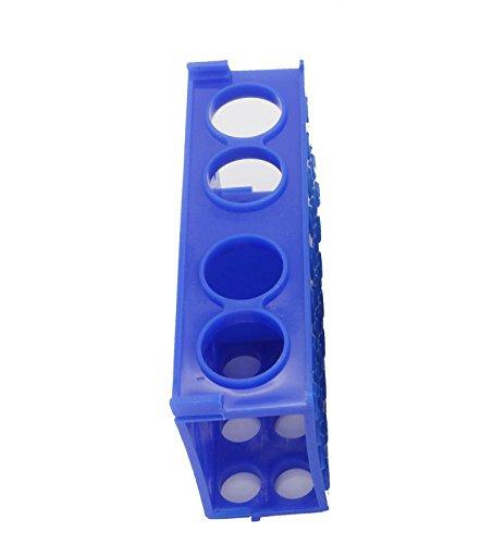 4 Wege Kunststoff Test Tube Rack, Multifunktionales Zentrifugengestell Geeignet für 50 ml, 15 ml, 10 ml, 5 ml, 2 ml, 1,5 ml, 0,5 ml Zentrifugenröhrchen, blau, 1 Stück