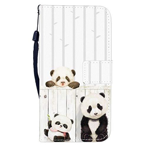 Sunrive Hülle Für WileyFox Spark X, Magnetisch Schaltfläche Ledertasche Schutzhülle Etui Leder Case Cover Handyhülle Tasche Schalen Lederhülle MEHRWEG(W8 Panda)
