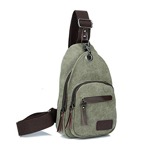 BULAGE Taschen Leinwand Brustbeutel Männer Und Frauen Rucksäcke Outdoor Mode Sport Kleine Schulranzen Freizeit Paket Atmosphäre Persönlichkeit Green