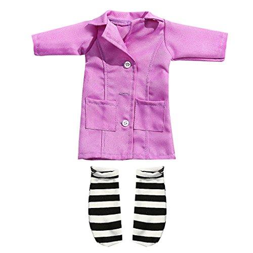 MagiDeal Puppekleidung, Krankenschwester Uniform Set, Puppe Kleidung Anzug für 14 Zoll Mädchen Puppen - Pink (Up Doktor Mädchen Dress)