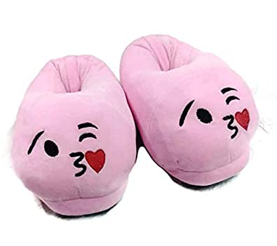 Qualtos Warm Shoes Emoji Bedroom Slipper Free Size Indoor Slipper Funny Soft Plush for Adults Kids Teens Bedroom Smiley Poop Socks Womens Girls Non-Skid Footpads