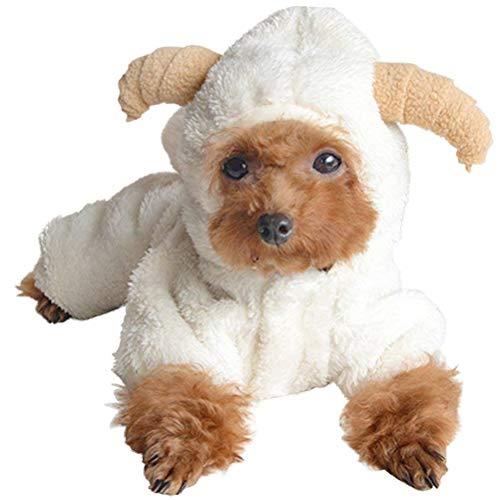 Freitag Schwarzen Kostüm - AOFITEE süßes Cartoon-Schaf/Kaninchenform, für Halloween, Cosplay-Kostüm, warm, Fleece, für kleine Haustiere, Kapuzenjacke, Hunde/Katze, kaltes Wetter, weich und bequem.