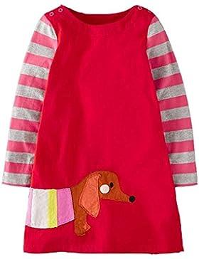 Lymanchi Mädchen Rundhals Langarm Kleid Streifen Tiere Baumwolle T-shirt Kleid