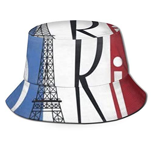 Pipaxing Eiffelturm über Frankreich Flagge Packable Reversible Schwarz gedruckt Fischer Eimer Sonnenhut -