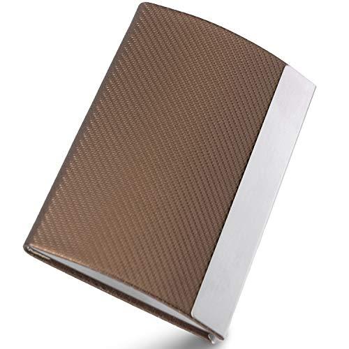 Visitenkarten Etuis Herren - NOVUSIDE   Visitenkarten-Etui   Visitenkartenbox   Kartenetui - Aufbewahren von Visitenkarten bis 90x57 mm - Hochwertige Visitenkartenetuis (carbon braun)