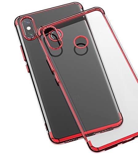 BLUGUL Funda Xiaomi Mi MAX 3, Electroplating Coloring, Ultra Fina, Transparente Suave TPU Silicona Cover Claro Case para Xiaomi MAX 3 Rojo