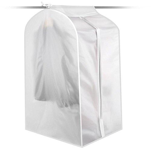Biback 2 Stück Staubschutzbeutel Mantel 2 Stück Kleiderbezüge Waschbar Transparent Wasserdicht Staubschutz für Hemd Kostüm Kleidung Höhe 90 S/ 105 M/120 L cm Large