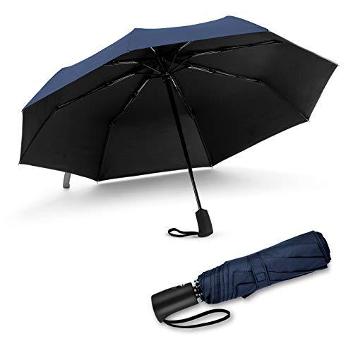 Jiguoor Parapluie Pliant, 12 Baleines Parapluie de Voyage Coupe-Vent, Parapluie de Voyage Ouverture et Fermeture Automatique,Imperméable, Hydrofuge, Compact Pliable pour Homme et Femm