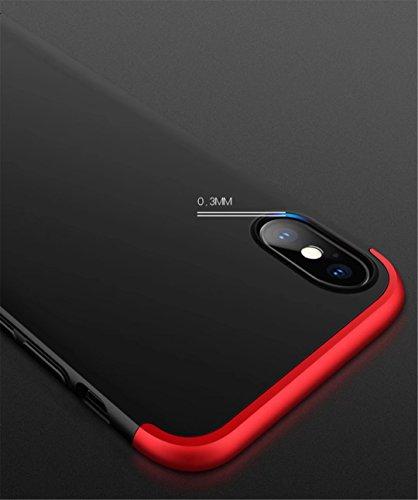 Coque iPhone 6/6S 360 degrés Protection Matte Ultra Slim Cover PC Hard Case Protection du corps Couverture antidéflagrante 360 ° Couverture complète 3 en 1.Non Apple mark.rouge-02 rouge-03