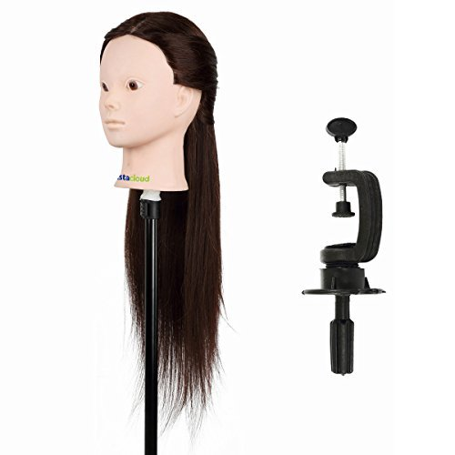 Tête À Coiffer Coiffure Femme Mannequin Tête d'apprentissage 60cm 80% Vrais Cheveux Humains Perruque naturelle