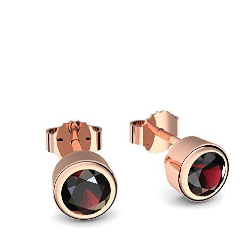 Ohrstecker Rotgold Granat (**Echte Granate**) Ohrringe Granat Rotgold - inkl. Luxusetui - Rotgold Ohrstecker Ohrschmuck Rotgold Ohrringe roter Stein rot FF47 VGRTGRFA