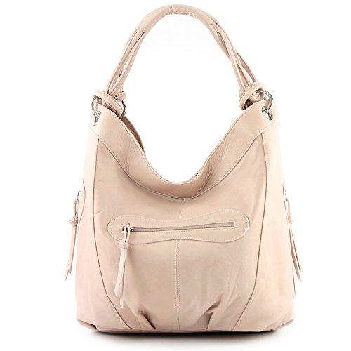 modamoda de - ital. Handtasche Damentasche Schultertasche Ledertasche Tasche Nappaleder Z18 Rosabeige