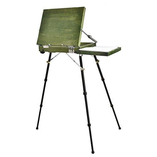 Caballete de arte portátil para pintar, estilo francés Qinuker, caballete de madera para artista y caja de dibujo con cajón, paleta de madera y correa para el hombro