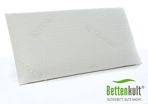 Nackenstützkissen für Matratzen & Boxspringbetten von Bettenkult 12cm - weiches Visco Kopfkissen 40 x 80cm, Viscoschaum-Kissen für Bauch- Seiten- & Rückenschläfer - Kissen für Allergiker geeignet