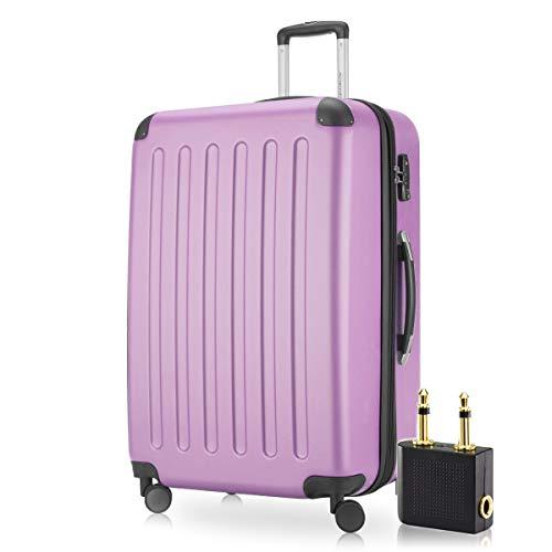 Hauptstadtkoffer - Spree Hartschalen-Koffer-XL Koffer Trolley Rollkoffer Reisekoffer Erweiterbar, 4 Rollen, TSA, 75 cm, 119 Liter, Flieder inkl. Flugzeug Audio Adapter