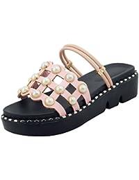 UH Damen Flache Sandalen Pantoletten Plateau Cut Out Mules mit Perlen Bequeme Sommer Schuhe