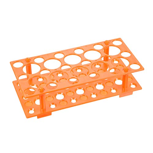 sourcing map 2 Stk.Rohr Gestell Abnehmbares Polypropylen 28-Well Orange 50 ml / 15 ml / 10 ml