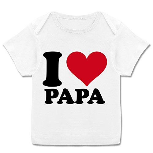 Up to Date Baby - I Love Papa - 68-74 (9 Monate) - Weiß - E110B - Kurzarm Baby-Shirt für Jungen und Mädchen in verschiedenen Farben (Love Baby T-shirt Daddy)