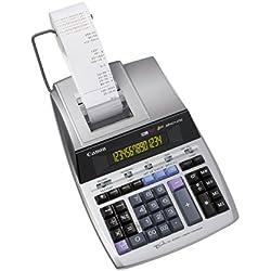 Canon MP1411-LTSC Calculatrice de bureau avec Imprimante à ruban encreur 14 chiffres Ecran rétro-éclairé 2 couleurs Fonction Taxe / Business Finition métal argenté