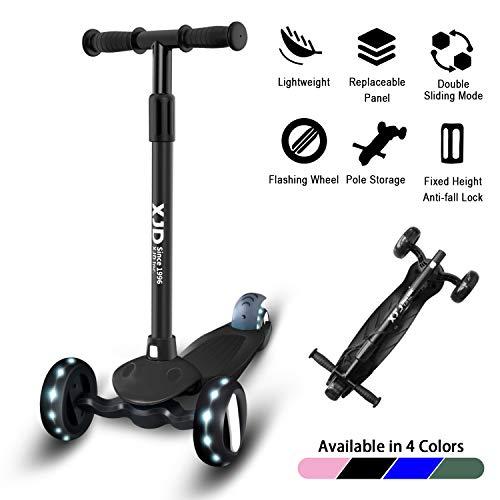 XJD Kinderroller 3 Räder Dreiradscooter Kinderroller ab 3 Jahre Höhenverstellbar mit PU Leuchtenden Räder Richtungssperre für Kinder 1,5-10 Jahre Alt (Schwarz)