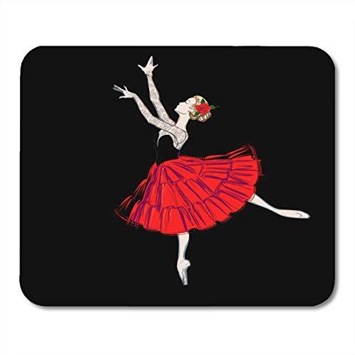 Tänzer Für Ballett Kostüm - Mauspads Das Porträt der Ballerina im Hauch-Rock-Kostüm und im klassischen Ballett-Tänzer-Mädchen-Ballettröckchen-Kleid der roten Rose Mausunterlage für Notizbücher, Bürozubehöre des Tischrechners