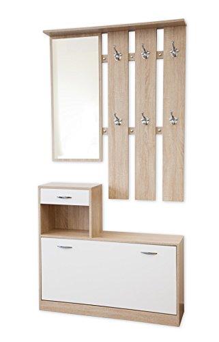 Garderoben-Set 3-teilig SIENA 100cm breit mit nässebeständigen und kratzfesten Melaminbeschichtung (Kerneiche/Weiß)