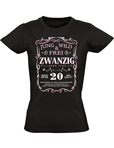 Geburtstags Shirt: 20 Jahre Jung Wild & Frei - Jahrgang 1999 - Zwanzig-Ster Geburtstag T-Shirt - Geschenk zum 20. - Damen - Frau - Frauen - Mädchen - Freundin - Birthday - Tailliert (L) (T-shirt 1999)