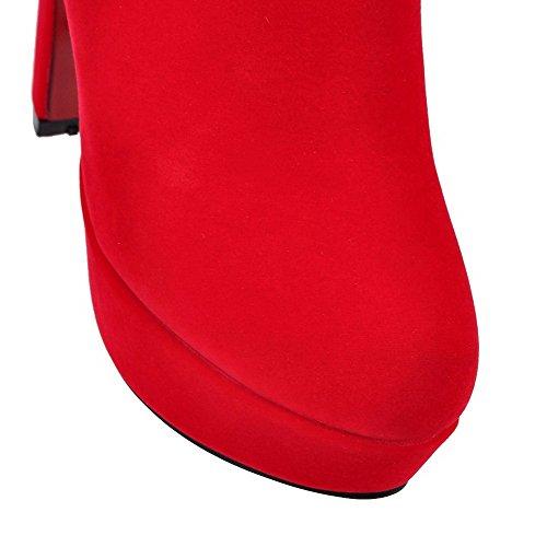 AgooLar Damen Rund Zehe Eingelegt Niedrig-Spitze Hoher Absatz Stiefel mit Metalldekoration Rot
