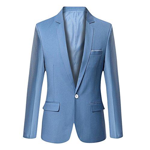 VOBAGA Herren nehmen passender beiläufiger ein Knopf stilvoller Anzug Jacken Mantel Blazer ab Geschäft Anzugjacken, Königs Blau, XXL (Rabatt Mäntel-jacken)