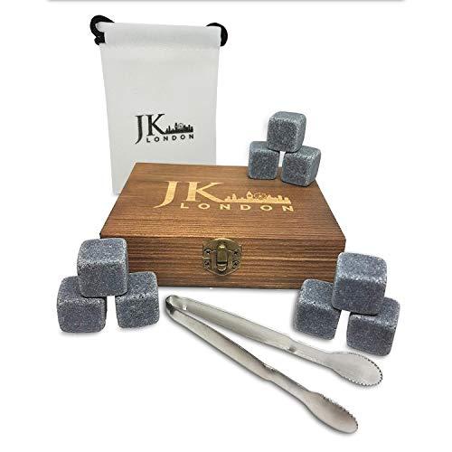 JK London Whisky Stones Geschenk-Set mit 9 wiederverwendbaren natürlichen Chilling Granit Steinen, ideal für Scotch oder Wein Kühlen mit stilvoller Kieferholzbox, Edelstahlzange und Samtbeutel -