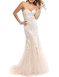 JAEDEN Vestidos de Baile Largo Sirena Vestido de Noche Mujer Vestido de Novia  Tul Sin Tirantes 28bd3da931c1